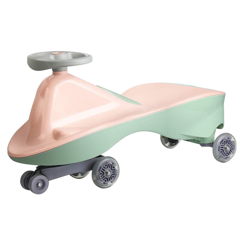子供用三輪車 子供用スイングカー セーフティスクーター ツイストカー 静音フラッシュホイール 耐荷重110kg 16歳 プレゼント (Color : Pink, Size : 37*70.5*30cm) 37*70.5*30cm Pink B07PJK1WZL