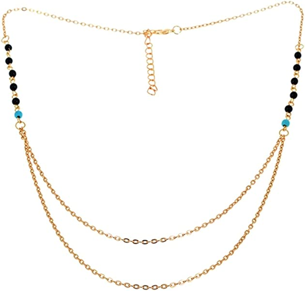 be917bb9158b Amazon.com  JY Jewelry Gold-Plated Beads Charm Double Layer Chain ...