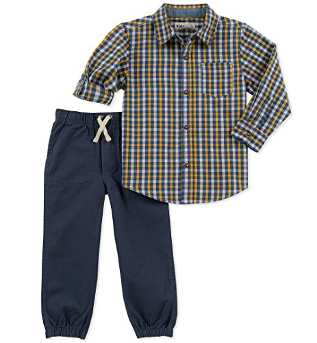 - Kids Headquarters Boys' Little 2 Pieces Shirt Pants Set-Rolled up Sleeves, Navy/Yellow, 7