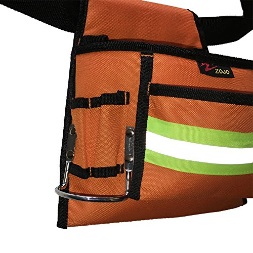 Reflective Electrical Maintenance Tool Pouch Bag Technician's Tool Holder Work Organizer for Roofers Maintenance Workers Construction Workers Plumbers Fits the Waist to 44 inch(Single Updated, Orange) by zojo (Image #4)