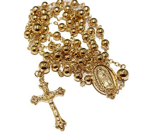 Virgen-de-Guadalupe-Rosario-collar-28-pulgadas--Nuestra-Senora-de-Guadalupe-Rosario-18-K-chapado-en-oro
