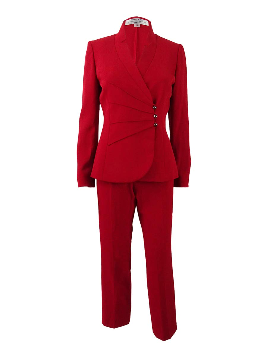 Tahari ASL Women's Petite Star-Neck Asymmetrical Pantsuit (2P, Vintage Red)