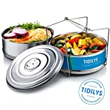 Stackable Steamer Insert Pans for Instant Pot with Smart Swiveling Lid | Stainless Steel Food Steaming Basket for Healthy Cooking | 2-Tier Pressure Cooker Pan Inserts For InstaPot 5, 6, 8 Quart Pots