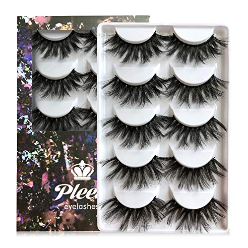 20MM Faux Mink Eyelashes, 3D Handmade Luxurious Soft Volume 5 Pairs Dramatic Thick Reusable Crossed Lashes Pack