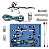Fy-Light 180K Airbrush Kit Dual Action Air Brush Kit Spray Gun Air Hose with 0.2mm/0.3mm/0.5mm Needle for Tattoo, Cake Decorating, Nail Beauty, Painting