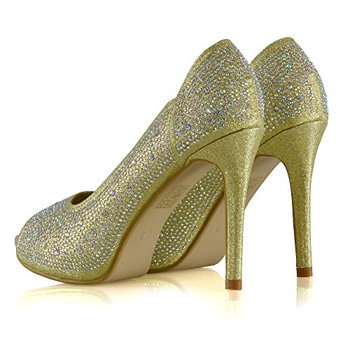 Essex Glamour Womens Peep Toe Hakken Diamante Platform Naaldhak Elegante Pump Schoenen Goud Glitter