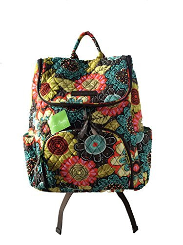Vera Bradley Double Zip Backpack in Flower Shower with Green Interior