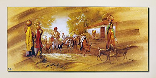 Avercart Beautiful Indian Village Painting Vinage Scene of India Poster 26x14 inch Unframed (66x35 cm rolled) by Avercart