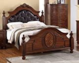 Eastern King Poster Bed In Cherry Wood Finish by Poundex