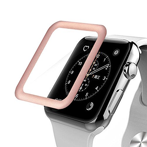 Apple Watch Series 3 Screen Protector,Anrain Series 3 38mm Full Coverage Ultra Slim Tempered Glass Screen Protector - Premium Anti-Scratch & Shockproof for Apple Watch 38mm,Rose - Be Scratches Can Removed Glass From