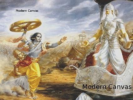 Amazoncom Lord Krishna Attacks Bhishma At The Battle Of