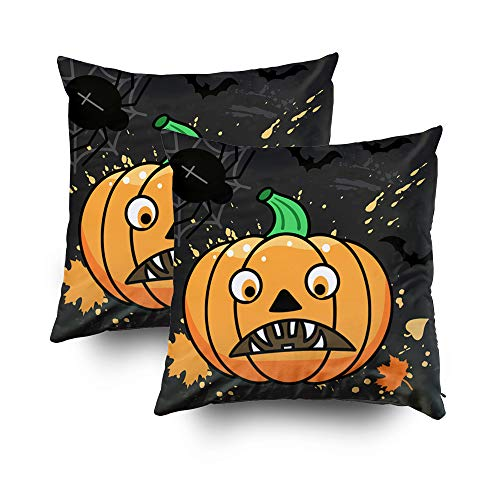 (ROOLAYS Decorative Throw Square Pillow Case Cover 16X16Inch, Cotton Cushion Covers Christmas Halloween Pumpkin Spider Bats Both Sides Printing Invisible Zipper Home Sofa Decor Sets 2 PCS)