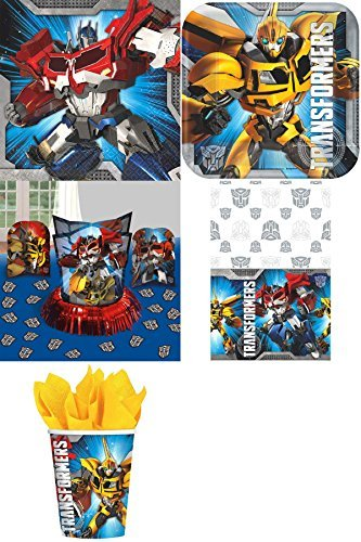 Transformers Party Pack for 16 by Amscan Includes Desert Plates, Beverage Napkins, Cups, Table Cover and Table Decorations (Prime Optimus Cover)