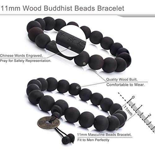 FIBO STEEL 2Pcs 11mm Wood Beaded Bracelet for Men Buddhist Beads Elastic