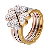LILILEO Jewelry Stainless Steel 3 Color Simple And Lucky Love Tricolor Wedding Split 3-In-1 Ring For Women's Rings