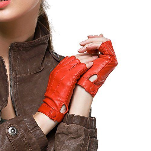 (Nappaglo Women's Driving Leather Gloves Nappa Leather Half Finger Fingerless Gloves Fitness Lined Gloves for Driving Cycling Motorcycling (L (Palm Girth:7.5