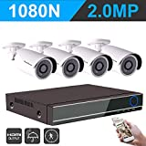IHOMEGUARD 1080N Security Camera System with 4PCS HD 1920TVL 2.0MP Outdoor CCTV Weatherproof Cameras with 4 Channel AHD DVR Video Surveillance Kit no Hard Drive