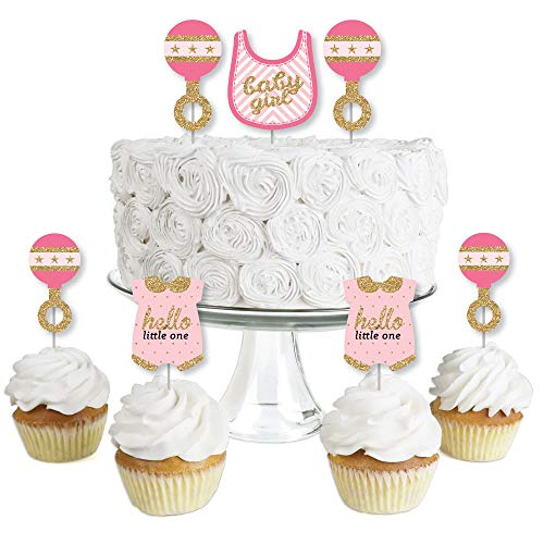 Hello Little One - Pink and Gold - Dessert Cupcake Toppers - Girl Baby Shower Clear Treat Picks - Set of 24