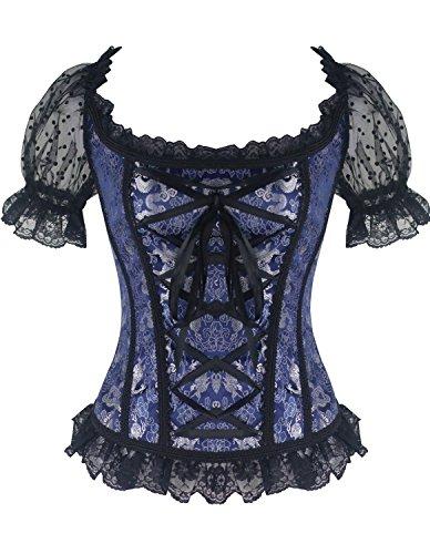 Punk Dance Costumes (Burvogue Women's Short Sleeve Gothic Steampunk Jacquard Corsets Tops (Medium, Blue))
