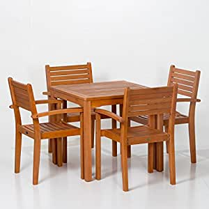Leadville Eucalyptus Square Dining Set With 4 Stacking Armchairs