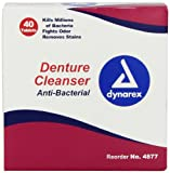 Dynarex Denture Cleansing Tablet (Anti-Bacterial), 1 per Foil Pack, 40 Count (Pack of 24)