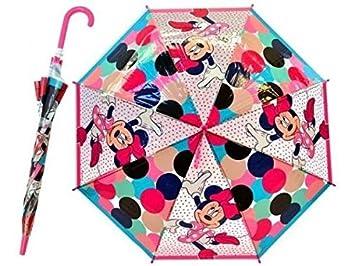 Paraguas Infantil 69cm Transparente 8 Varillas Minnie Radio 48cm