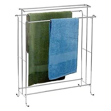 Funkybuys® Handtuch Ständer 2 Etagen Badezimmer Rack (si B1026)  Freistehender 4 Schienen