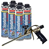 6 Cans Soudal All Season Window & Door Foam, plus AWF Pro Foam Gun