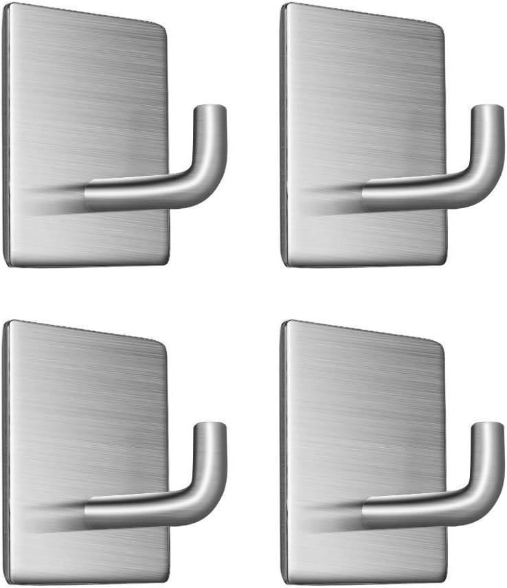 Self-Adhesive Hooks, Heavy Duty Kitchen Bathrooms Robe Hooks, Towel Stands Sticky Wall Hook, Toilet Waterproof and Rust-Proof Bath Towel Hooks - 4 Packs