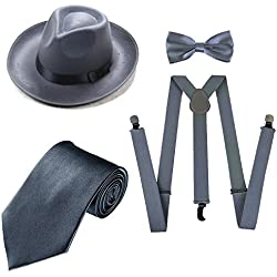 1920s Mens Costume Accessory Set - Manhattan Fedora Hat, Suspenders Y-Back Elastic Trouser Braces,Pre Tied Bow Tie,Gangster Tie (OneSize, Grey)