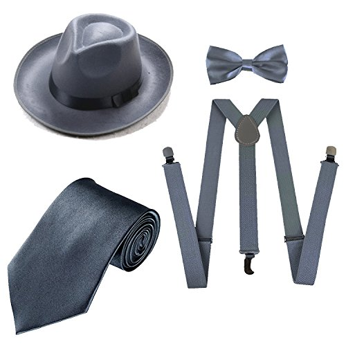 (1920s Mens Costume Accessory Set - Manhattan Fedora Hat, Suspenders Y-Back Elastic Trouser Braces,Pre Tied Bow Tie,Gangster Tie (OneSize,)