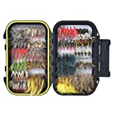 100PCS Fly Tying Material Fly Fishing Flies, Assorted Trout Fly Fishing Lure with Double Side Waterproof Pocketed Fly Box
