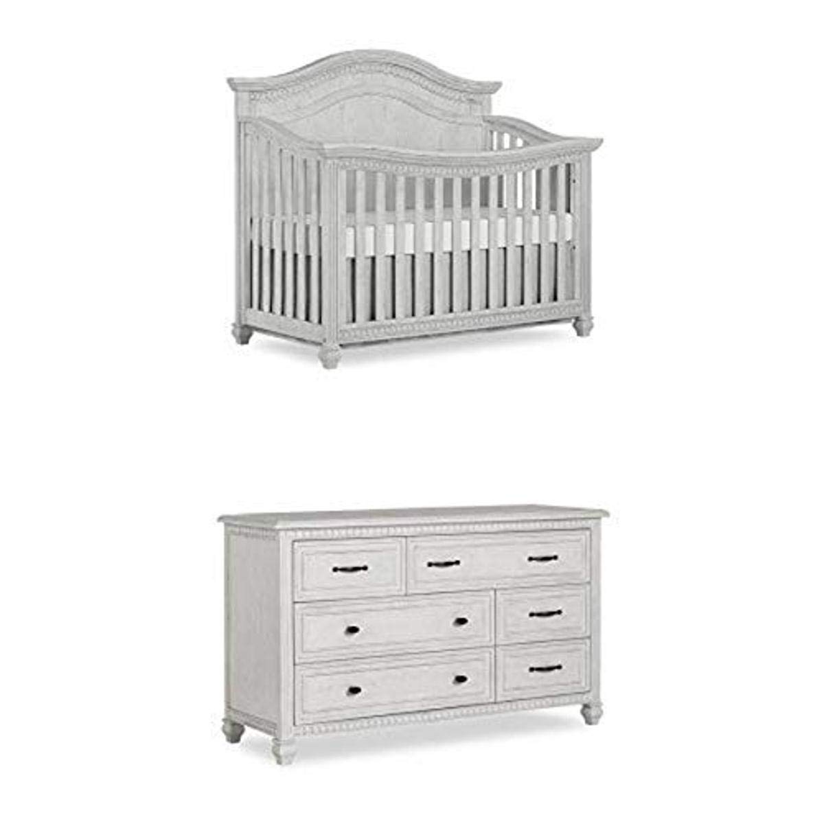 Evolur Madison 5, 1 Curved Top Convertible Crib, Antique Grey Mist with Double Dresser