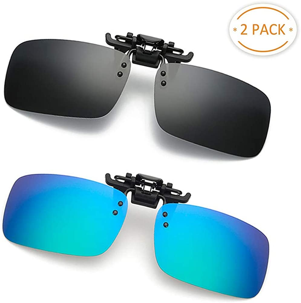 Clip-on Sunglasses 2 Pack Polarized Lens Unisex Frameless With Metal Flip Up For Driving, Outdoor Sports & Holidays (GREEN BLUE + BLACK)