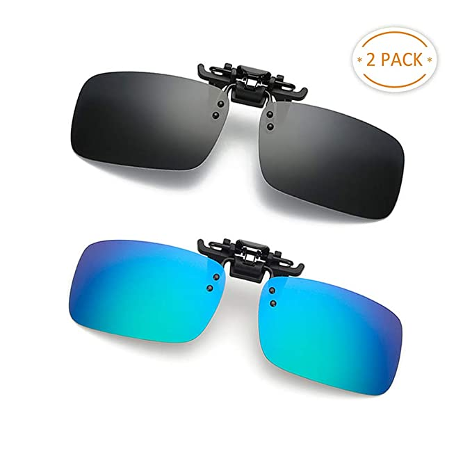 80e53692dc4 Clip-on Sunglasses 2 Pack Polarized Lens Unisex Frameless With Metal Flip Up  For Driving
