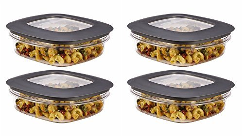 Rubbermaid Premier Food Storage Container, 3 Cup, Grey (4 Pack) (Storage Food Rubbermaid Premier)