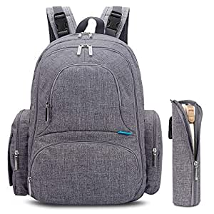 CoolBELL Baby Diaper Backpack With Insulated Pockets/Large Size Water-resistant Baby Bag/Multi-functional Travel Knapsack Include Changing Pad (Grey)