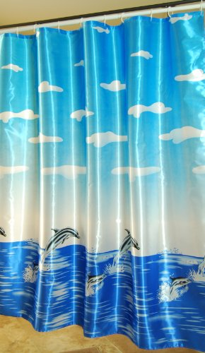 - Decor Plus Polyester Satin Fabric Shower Curtain Waterproof 72