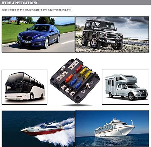 51ss0BFSMUL BlueFire Aufgerüstet 6 FachSicherungshalter, 30A 9-32V Unabhängiger Betrieb KFZSicherungskasten, mit 12PCS Sicherung + LED Warnleuchten für KFZ Auto Wohnmobil Marine Boot Trike