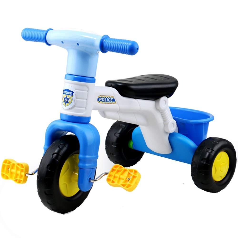 Axdwfd 子ども用自転車 キッズ三輪車キッズペダル自転車35歳、ベビーカー男の子ガールズ玩具車積載量25kg(青、ピンク)  青 B07PZ36XYY
