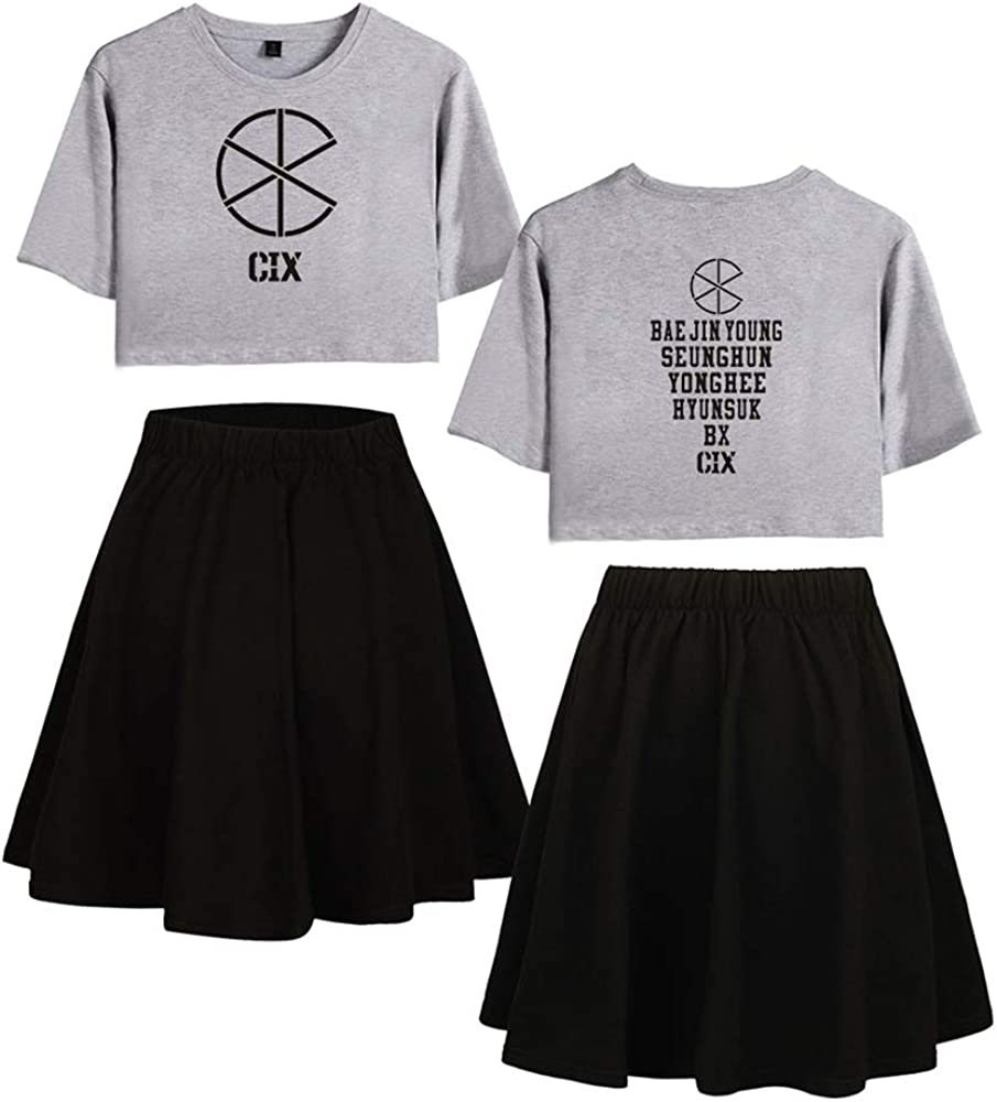 Enjoyyourlife KPOP CIX T-Shirt /& R/öcke Set CIX Liebespaar R/öcke /& Top Sets Sport Set Trainingsanzug