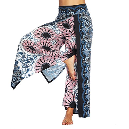 (Women Casual Yoga Harem Pants Summer Loose Boho Aladdin Boho Aladdin Trousers Baggy Jumpsuit Floral M)