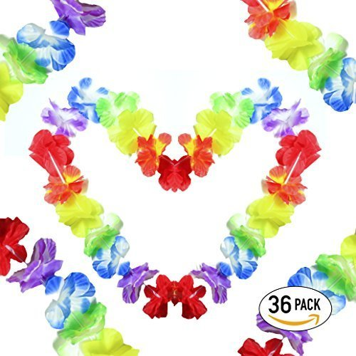 Leis Quality Pack - Tropical Colorful Blast - Party Ready - Fun Size for Everyone - Hawaiia Luau Garland Favors - 36 Pack by Bytesprout (Image #1)