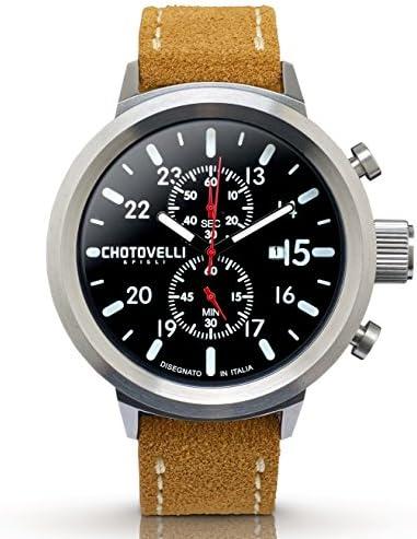 Chotovelli Men s Big Pilot Chronograph Watch Sapphire Italian Leather Band 747.100