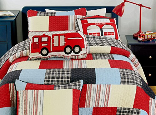Cotton Patch Bedding - Cozy Line Home Fashions Summer Quilt Bedding Set for Boy, 100% COTTON Navy/Blue/Red Grid Stripe Printed Reversible Bedspread Coverlet,Gifts for Kids(Vibrant Patchwork, Queen - 3 piece)