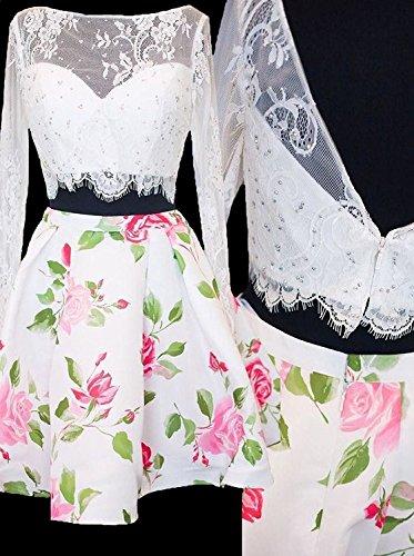 Longue Robe De Retour À La Maison En Dentelle À Manches Deux Pièces Robe De Bal Floral Mini Jupe De Sa004 Blanc