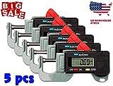 1/3/5PCS Portable Precise Digital Thickness Gauge Meter Tester Micrometer 0 to 12.7m Caliper (5PCS)