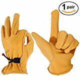 OZERO Garden Gloves, Leather Gardening Glove with Ball and Tape Wrist Closure, Flex & Good Grip for Logging/Wood Cutting/Forest Work/Driving - Perfect Fit for Men & Women, 1 pair Pack (Gold,X-Large)