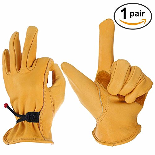 OZERO Leather Work Gloves for Wood Cutting, Men & Women, with Adjustable Wrist, Gold, X-Large (1 (Chainsaw Parts Catalog Tool)