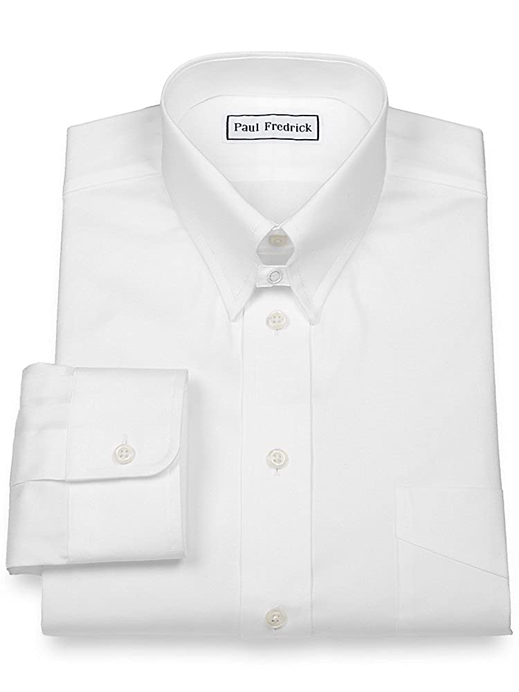 Paul Fredrick Mens Slim Fit Pinpoint Snap Tab Collar Dress Shirt